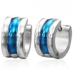 Cercei verigă din oțel, argintiu cu albastru, trei linii rotunjite
