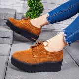 Pantofi cu platforma dama camel Kalea