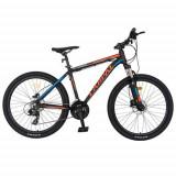Bicicleta MTB-HT CARPAT C2681H, roti 26inch, cadru aluminiu 17.5inch, frane hidraulice disc, 21 viteze, transmisie Shimano (Negru/Rosu)