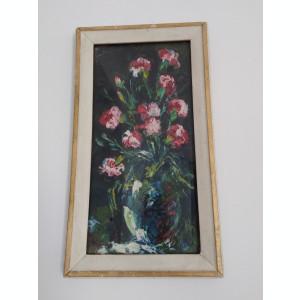 Tablou vechi ulei - Vas cu flori (44)