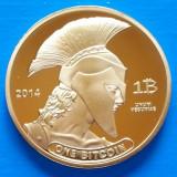 USA Titan Bitcoin 2014 UNC Spartan Moneda memoriala Auriu 40mm