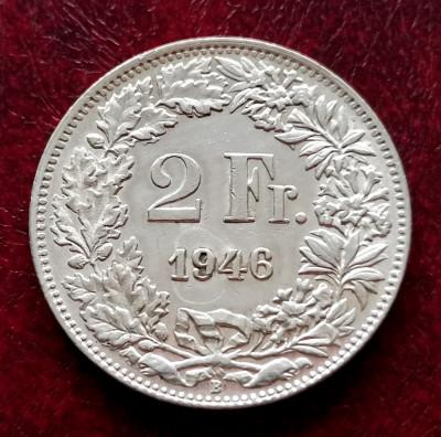 ELVETIA - 2 Franci 1946 B ( Francs - Franken ) Argint stare foarte buna XF-aUNC foto