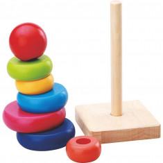 Jucarie turn Montessori din Lemn curcubeu.