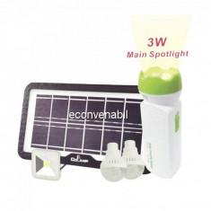 Kit Solar cu Lanterna LED 3W, 3 Becuri si Slot USB GSM CL036