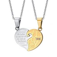 Set Pandantive Medalioane Lantisoare Cuplu Indragostiti Inima Inox