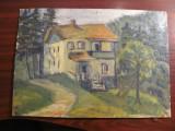 "PVM - ""Casa in Padure"" ulei pe carton semnatura acoperita ulterior cu vopsea"