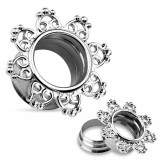 Tunel din oțel 316L pentru ureche, argintiu, floare decupată decorativ - Lățime: 6 mm