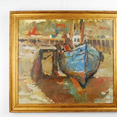 Tablou pictura Barca in port - ulei pe carton vechi