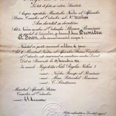 """BREVET PENTRU ORDINUL  """" STEAUA ROMANIEI """" IN GRAD DE CAVALER"""