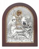 Icoana Sfantul Gheorghe Foita Argint 925 11x13cm COD: 2466