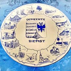 1523-Aplica Delft-Gemeente cu localitati rurale portelan olandez veche.