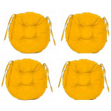 Set Perne decorative rotunde, pentru scaun de bucatarie sau terasa, diametrul 35cm, culoare galben, 4 buc/set, Palmonix