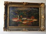 Tablou ulei - Sat din Transilvania de langa Cluj - Nesemnat, Abstract