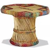 Măsuță de cafea, bambus, cu detalii chindi, multicolor