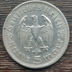 (A853) MONEDA DIN ARGINT GERMANIA - 5 MARK 1935, LIT. A, HINDENBURG, PILITA