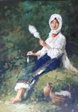 Tablou pictura - a doua nepoata a bunicului, Peisaje, Ulei, Miniatural