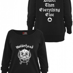 Ladies Motorhead Everything Louder Wideneck Crewneck Merchcode XS EU, Negru