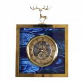 Ceas decorativ, de masa, stil modern, albastru cu auriu, 22 x 16 cm