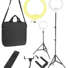 Lampa foto circulara LED cu telecomanda, lumina calda/rece + Trepied cu Inaltime Reglabila Suport pentru Telefon si Aparat Foto