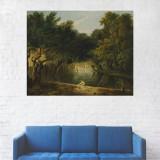 Tablou Canvas, Oameni pe malul Lacului, Padure - 20 x 25 cm