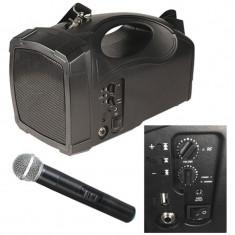 Boxa profesioanala portabila, receptor VHF, Bluetooth, microfon, 40 W