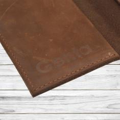 Husa pasaport piele naturala intoarsa, maro inchis
