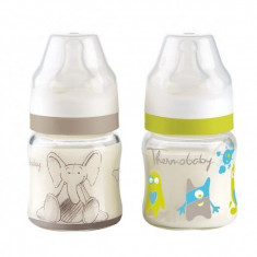 Set 2 biberoane sticla gat larg 120ml - Thermobaby