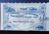 Actiune Soc. de navigatiune pe Dunăre - A. Saligny - titlu , actiuni