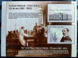 ROMANIA 2012 - 125 ani Victor Babes Bloc de 2 timbre MNH - LP 1947 a - cota 12,9, Nestampilat