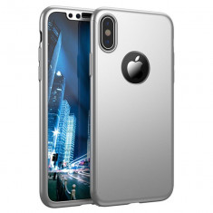 Husa Apple iPhone X Flippy Full Cover 360 Argintiu + Folie de protectie