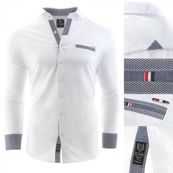 Camasa pentru barbati alb Slim fit casual cu guler Pompei