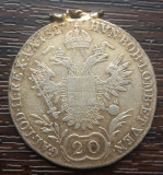 (A867) MONEDA DIN ARGINT AUSTRIA - 20 KREUZER 1827, LIT. B, A FOST AGATATA, RARA