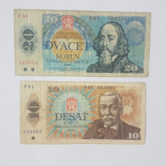 Bancnote Cehoslovacia - 10, 20 korun 1986, 1988