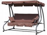 Balansoar cu umbrela, convertibil pat pentru gradina, perinite si spatar rabatabil, 3 locuri, maro