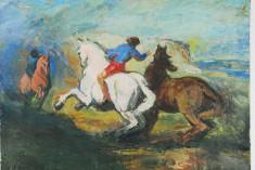 Tablou pictura - Caii salbatici - ulei pe carton foto