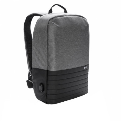 Rucsac antifurt laptop 15 inch, RFID, Swiss Peak by AleXer, RD, poliester, gri, breloc inclus din piele ecologica si metal foto