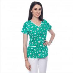 Bluza medicala verde cu dintisori