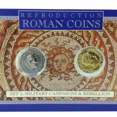 Set 2 Monede Romane - Aureus of Nero și Denarius of Titus, reproduceri, Europa