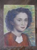 Cumpara ieftin Dudu Alexandrescu Milcoveanu-Portret femeie,creioane colorate/carton, Portrete, Guasa, Realism