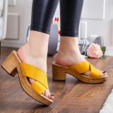 Papuci Sanasi galbeni cu toc -rl