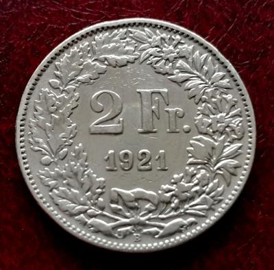 ELVETIA - 2 Franci 1921 B ( Francs - Franken ) Argint foto