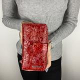 Portofel Pierre Cardin din piele ecologica lacuita cu logo metalic, Rosu