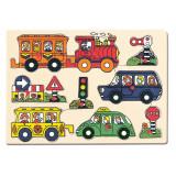 Puzzle din lemn - Masini - Bino