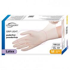 Manusi latex Grip Light marimea M, albe, 100 bucati/cutie, nepudrate