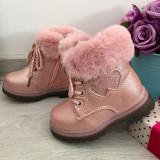 Cumpara ieftin Bocanci roz imblaniti ghete cu inimioare pt fetite bebe 24 25, Fete