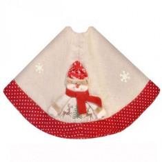 Covoras panza de sac cu bordura rosie pentru brad de Craciun