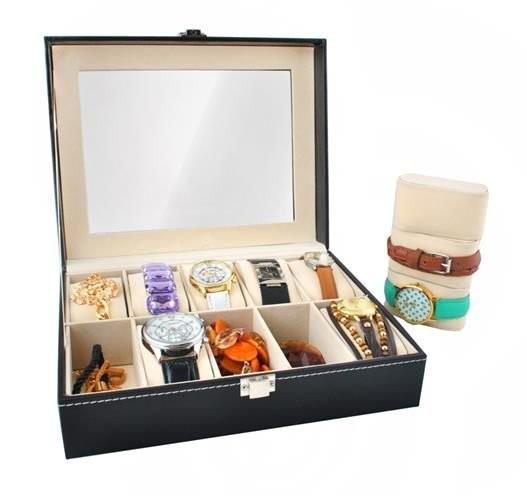 Caseta cutie pentru depozitare si organizare 10 ceasuri, Neagra