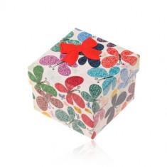 Cutie de cadou pentru inel sau cercei,fluture colorat cu decoratiuni