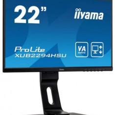 Monitor VA LED iiyama 21.5inch XUB2294HSU-B1, Full HD (1920 x 1080), VGA, HDMI, DisplayPort, Boxe, Pivot, 75 Hz (Negru)
