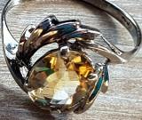 Inel TOPAZ - argint 925 RODIAT aspect aura alb - manufactura